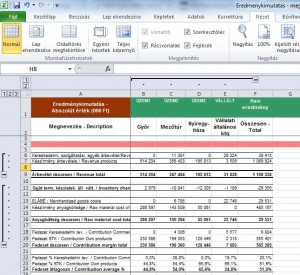 Creating Profit&Loss statement directly from account list with Excel functions
