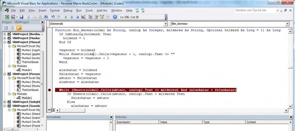 Excel oktatás, excel tanfolyam, Visual Basic